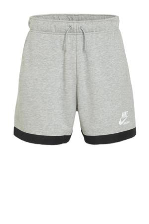 fleece wide leg sweatshort met logo grijs melange/zwart