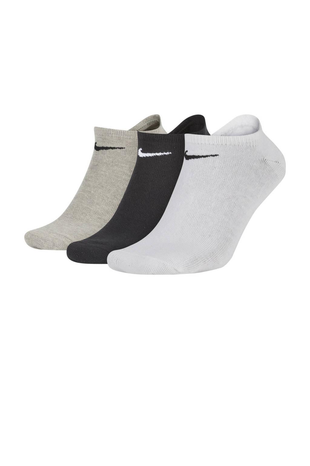 Nike   sportsokken - set van 3 wit/zwart/grijs, Wit/zwart/grijs