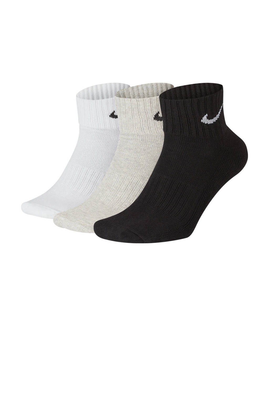 Nike   sportsokken - set van 3 zwart/beige/wit, Zwart/beige/wit