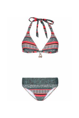 halter bikini Zucty B-cup met all over print grijs/roze