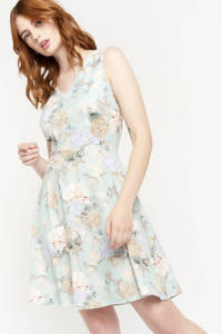 LOLALIZA gebloemde A-lijn jurk NEWFRAN lichtblauw/ecru/roodbruin, Lichtblauw/ecru/roodbruin