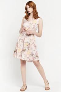 LOLALIZA gebloemde A-lijn jurk NEWFRAN lichtroze/geel/donkerroze, Lichtroze/geel/donkerroze