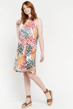 jurk met bladprint multi