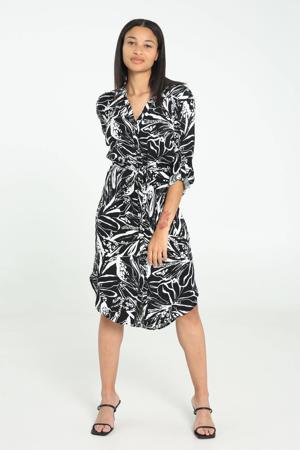 jurk met all over print en ceintuur zwart/wit