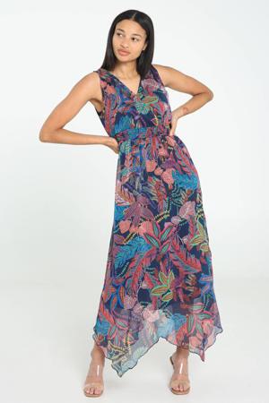 semi-transparante jurk met bladprint en plooien donkerblauw/paars/groen/geel