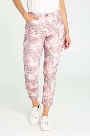 regular fit broek met bladprint roze/grijs