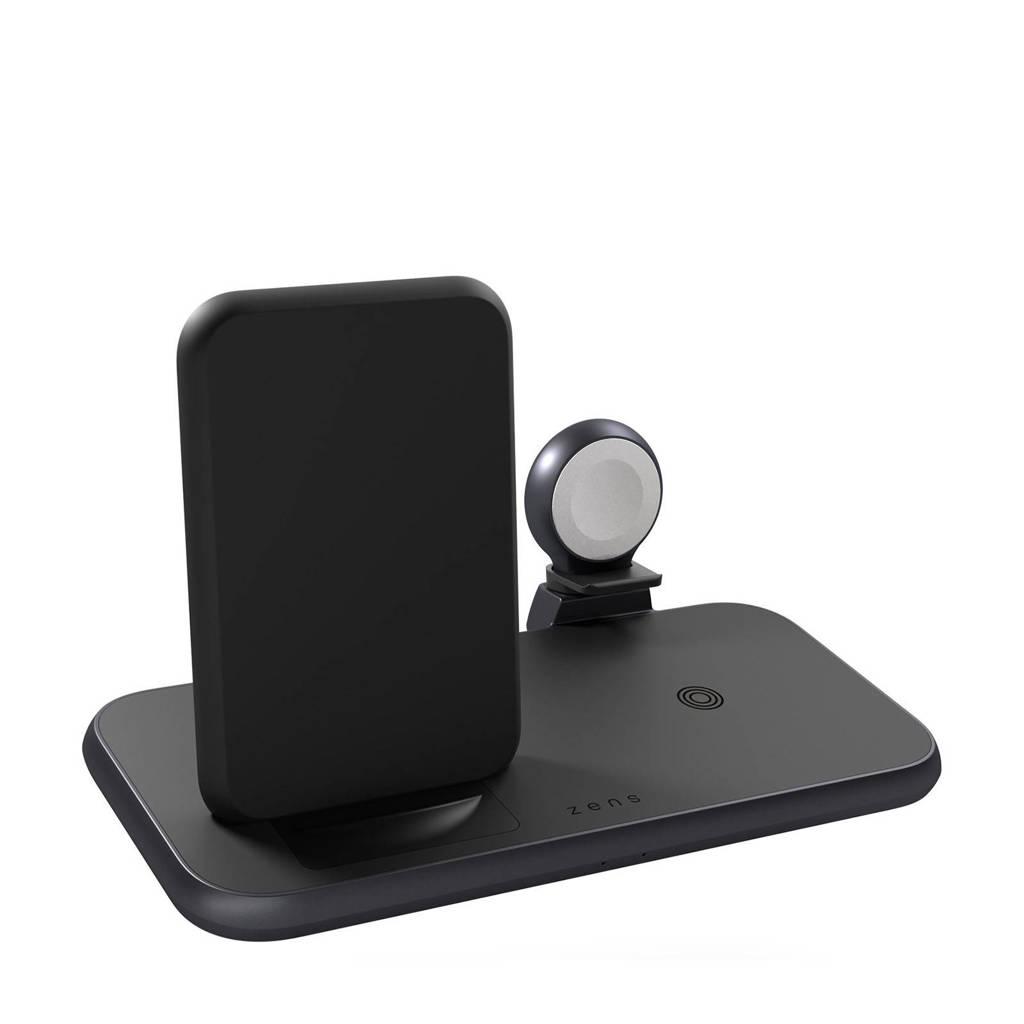 ZENS  4-in-1 Stand+Watch Wireless Charger draadloze lader (zwart), Zwart