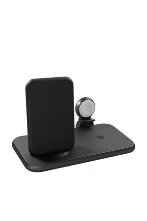 4-in-1 Stand+Watch Wireless Charger draadloze lader (zwart)