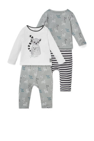 pyjama - set van 2 lichtgrijs/wit