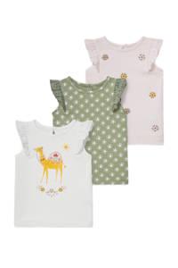 C&A Baby Club shirt - set van 3 wit/groen/lichtroze, Ecru/groen/lichtroze
