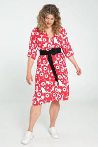 Paprika gebloemde jurk rood, Rood