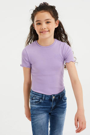 T-shirt met ruches lavendel