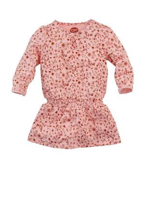 baby jurk Honeybee met all over print lichtroze/roestbruin