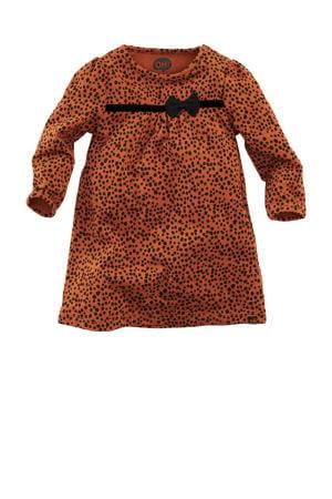 baby jurk Nella met all over print en 3D applicatie roestbruin/zwart