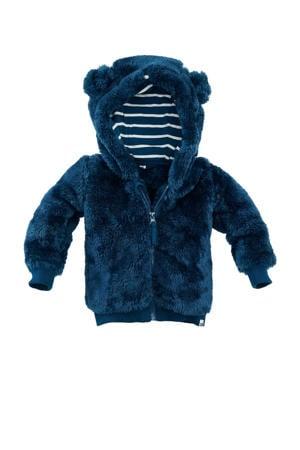 baby fleece vest Dallas donkerblauw/wit