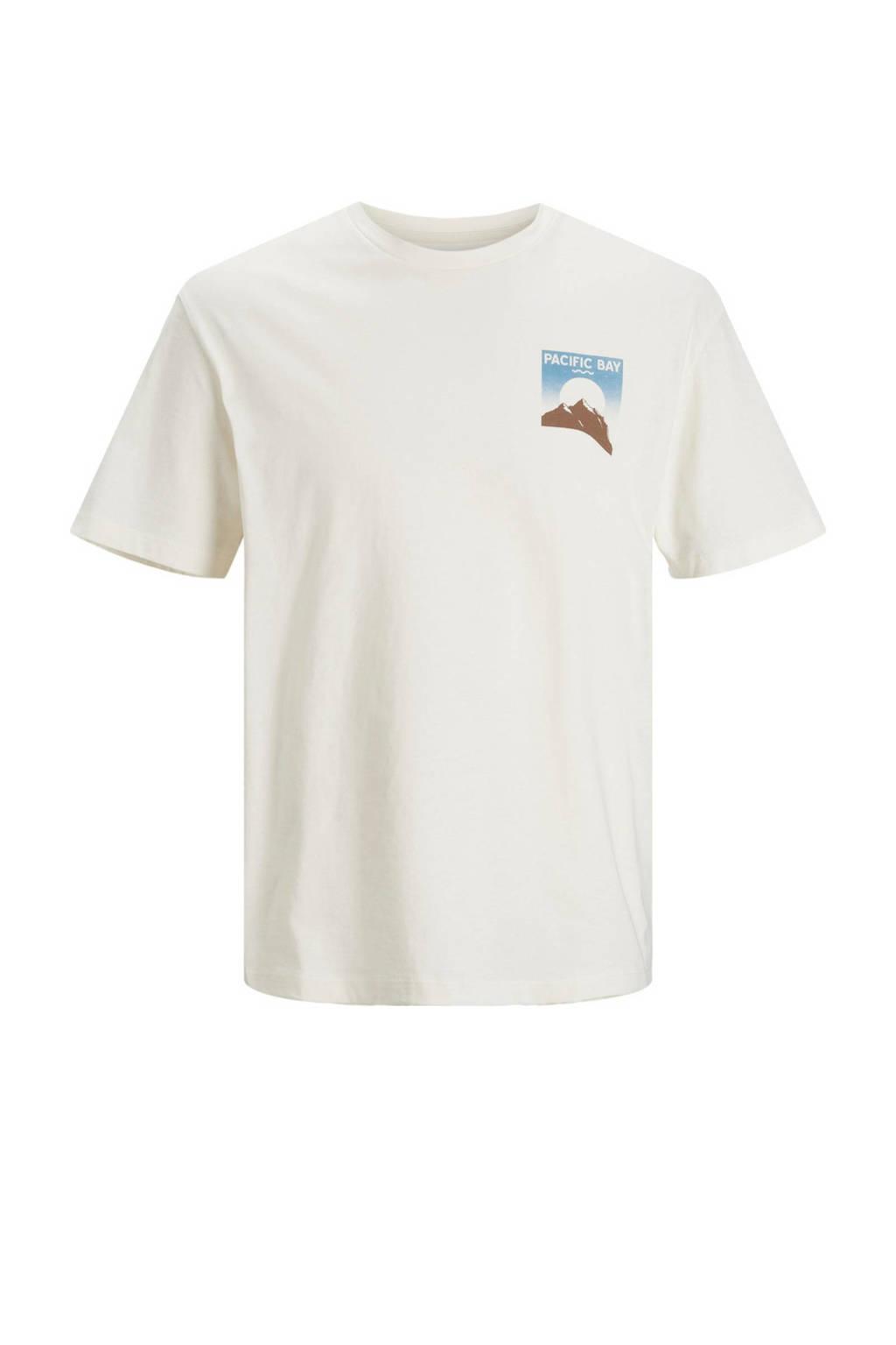 JACK & JONES ORIGINALS T-shirt JORMUZART met printopdruk cloud dancer, Cloud dancer