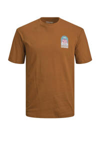 JACK & JONES ORIGINALS T-shirt JORMUZART met printopdruk bruin, Bruin