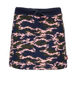 rok met camouflageprint donkerblauw/roze/army groen