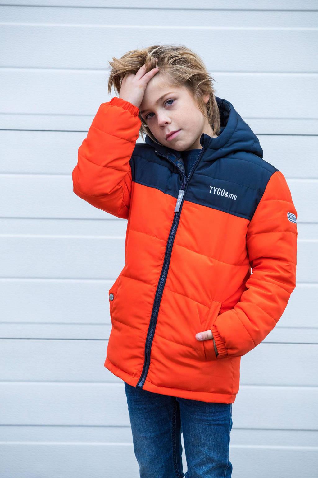 TYGO & vito reversible gewatteerde winterjas van gerecycled polyester oranje, Oranje