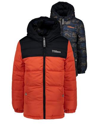 reversible gewatteerde winterjas van gerecycled polyester oranje