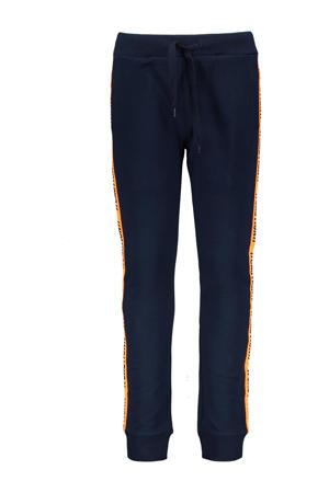 gestreepte slim fit joggingbroek met zijstreep donkerblauw