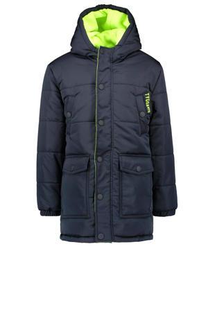 gewatteerde winterjas van gerecycled polyester donkerblauw/neon groen