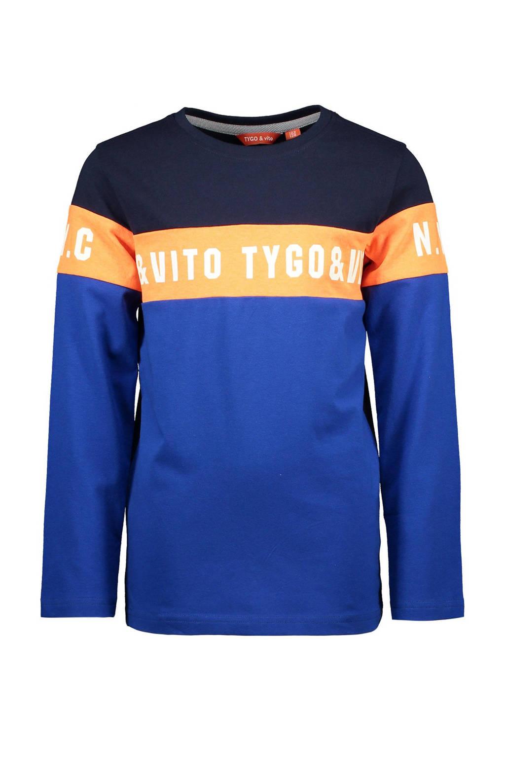 TYGO & vito longsleeve met tekst donkerblauw/blauw/oranje, Donkerblauw/blauw/oranje