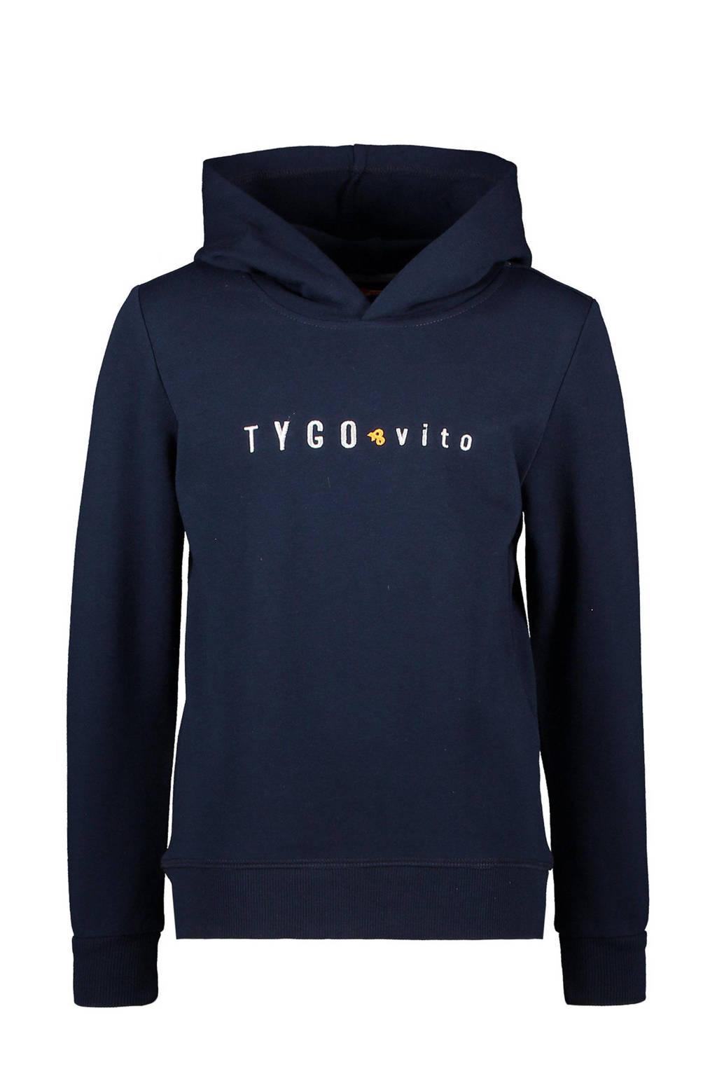 TYGO & vito hoodie met logo donkerblauw, Donkerblauw