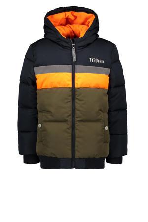 gewatteerde winterjas van gerecycled polyester donkerblauw/oranje/army groen