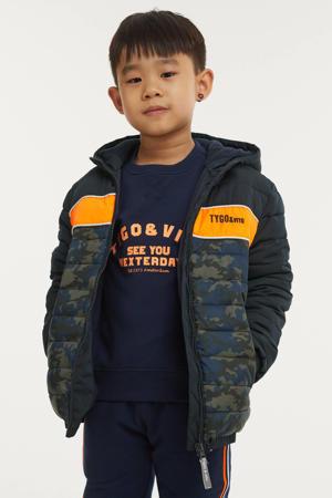 gewatteerde winterjas van gerecycled polyester donkerblauw/oranje/groen