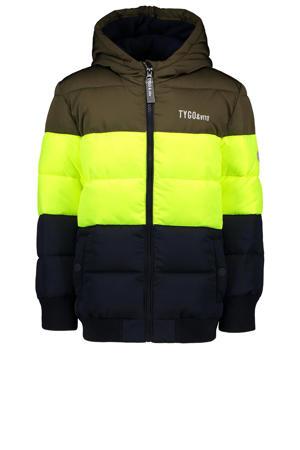 gewatteerde winterjas van gerecycled polyester donkergroen/neon geel/donkerblauw