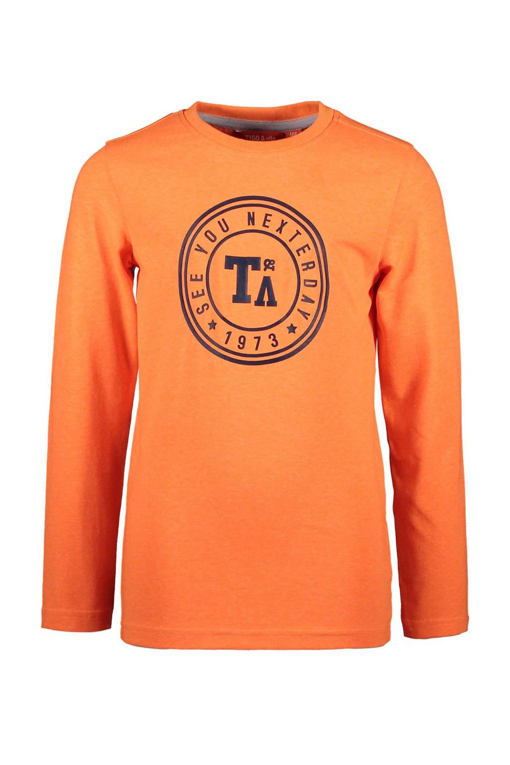TYGO & vito longsleeve met logo oranje, Oranje