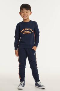 TYGO & vito gestreepte slim fit joggingbroek met zijstreep donkerblauw, Donkerblauw