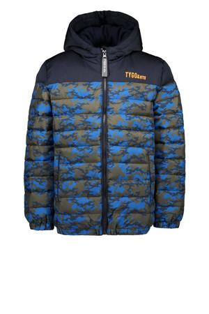 gewatteerde winterjas van gerecycled polyester donkerblauw/army groen/blauw