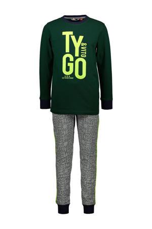 pyjama met logo donkergroen/grijs melange