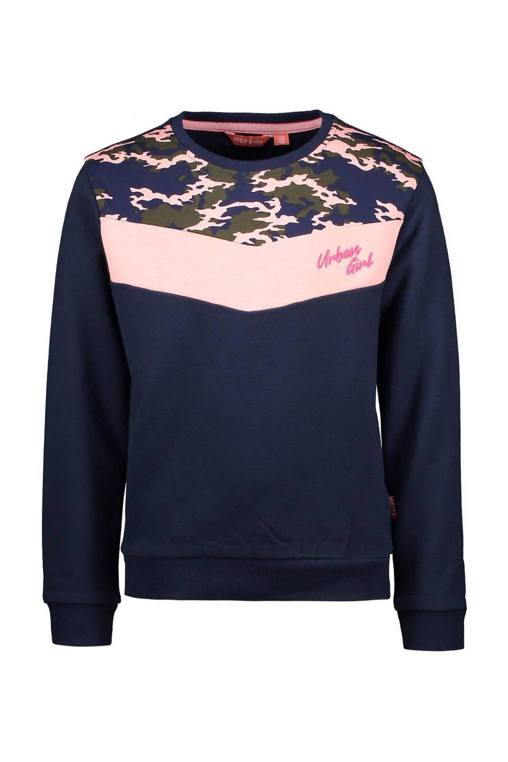 TYGO & vito sweater met camouflageprint donkerblauw, Donkerblauw