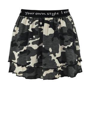 rok Nola met camouflageprint grijsgroen/zwart/beige