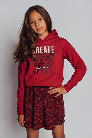 sweater Xanne met tekst donkerrood