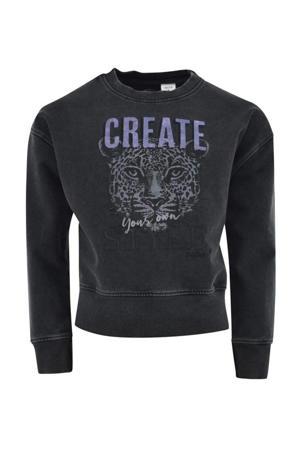 sweater Wanda met tekst verwassen zwart