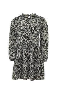 KIDDO jurk Sofie met panterprint en ruches ecru/zwart, Ecru/zwart