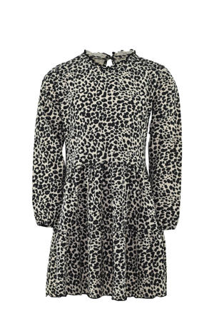 jurk Sofie met panterprint en ruches ecru/zwart