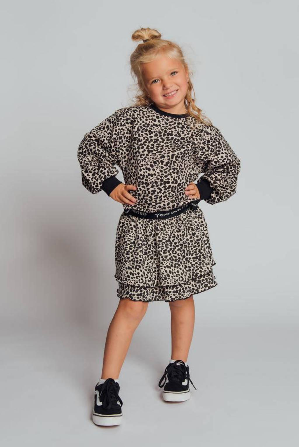KIDDO sweater Suze met panterprint ecru/zwart, Ecru/zwart