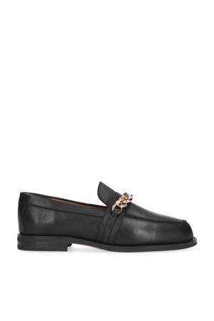 leren loafers met gouden ketting zwart