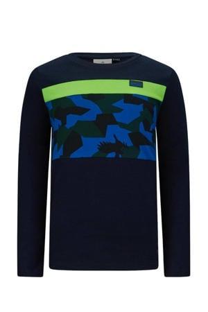 longsleeve Ossian donkerblauw/neon groen/blauw