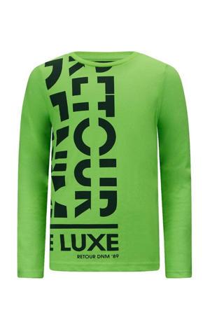 longsleeve Kjell met logo neon groen