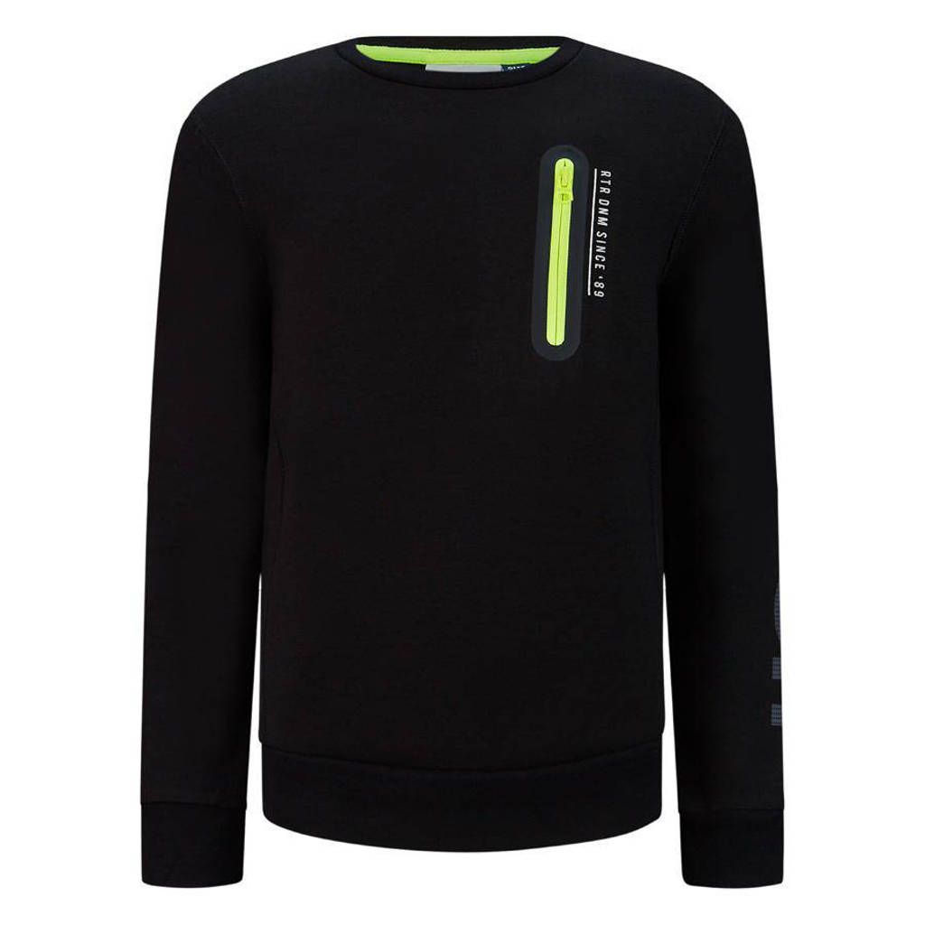 Retour Denim sweater Leif met printopdruk zwart, Zwart