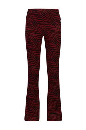 flared broek Bouskoura met zebraprint rood/zwart
