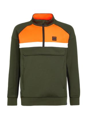 sweater Ove olijfgroen/oranje/wit