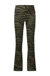 Retour Denim flared broek Bouskoura met zebraprint kaki groen/zwart, Kaki groen/zwart