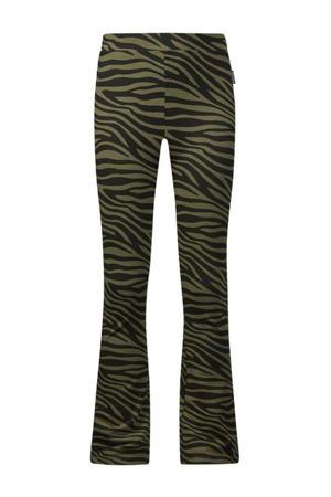 flared broek Bouskoura met zebraprint kaki groen/zwart